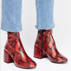 Jeffrey Campbell Red Snake Booties